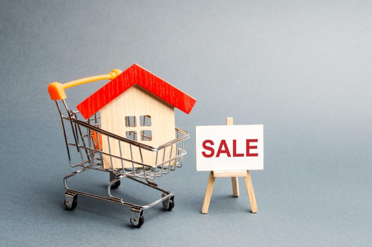 Supermarket Cart With Houses And A Sale Poster